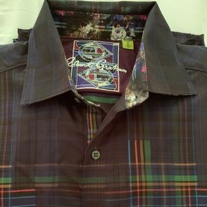 Robert Graham men's Black plaid shirt- size large